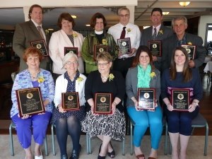 Pictured are the award winners from Community Missions' 23rd Annual Compassion in Action Awards Brunch, held at the LaSalle Yacht Club on Thursday. Front Row (L to R) - Ms. Mary Maj, CMI Board Member; Ms. Joan Lock, Lawley Agency; Ms. Catherine Richards, Niagara County Probation Dept.; Ms. Katharine Sirianni-Morock, Niagara Falls Memorial Medical Center; Ms. Meredith Miller, Niagara Falls Memorial Medical Center. Back Row (L to R) - Mr. Mark Keefe, NYS Office of Children and Family Services; Ms. Patricia Walker, St. Paul's Episcopal Church (Lewiston); The Very Rev. Dr. Judith Lee, Dean, Niagara Deanery of the Episcopal Diocese of WNY; Mr. Ken Michael, Dox Electronics, Inc.; Mr. Will Tompkins, Pine Pharmacy; Mr. Angelo Sarkees, Deposits for Food.